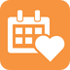 White-on-orange icon of a heart and calendar