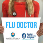 person holding a sign with flu doctor and logos