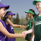 girls shaking hands before a game