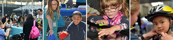 Four photos of kids at our health fair