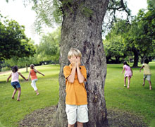 Kids playing hide and seek
