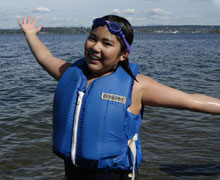 Kiddo wearing a life jacket
