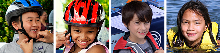 Children in helmets and life jackets