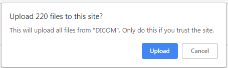 Dialog box asking to confirm upload