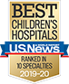 Ranked in 10 Specialties U.S. News and World Report Best Children's Hospitals Badge