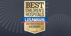 Gastroenterology and GI Surgery U.S. News and World Report Best Children's Hospitals 2020-2021 Badge